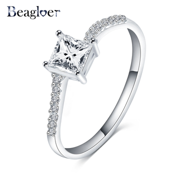 Beagloer New Women's Wedding Unique Ring Silver Color Square Shape Cubic Zirconia Wedding Jewelry for Ladies CRI0227-B