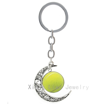2016 Hot Selling Tennis Ball keychain the most popular leisure sports tennis key chain fashion charms women moon key ring T621