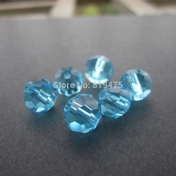 (72 pieces/lot) 8mm Glass crystal beads Faceted Disco Ball Beads Ocean Blue color for jewelry making
