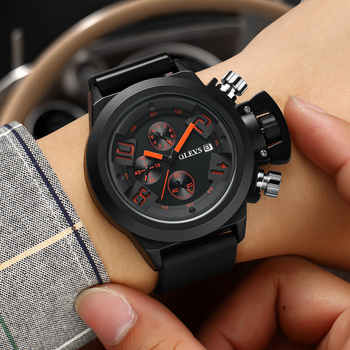 Men's Watch Chronograph Sport Watches Waterproof Silica gel Male Clock Luxury watch Men Digital Wristwatches relogio masculino