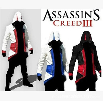 10 adet/grup Assassins Creed 3 III Conner Kenway Hoodie Ceket Ceket Assassin creed assassin Kostüm Cosplay Kostüm Ceket